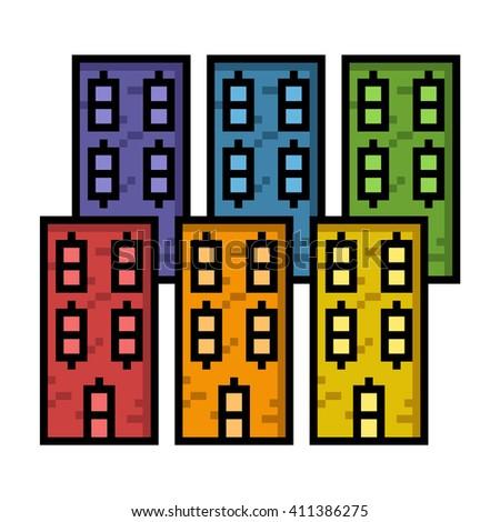 Buildings in big pixels - stock photo