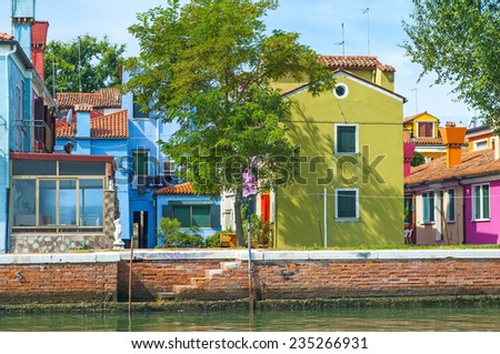 Buildings in Burano, an island full of colors in the lagoon near Venice