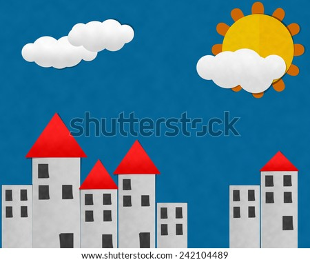 Buildings in City at summer day, Cutting Paste Paper