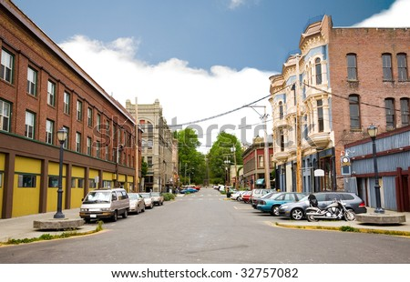 Buildings in downtown Port Townsend, Washington. - stock photo