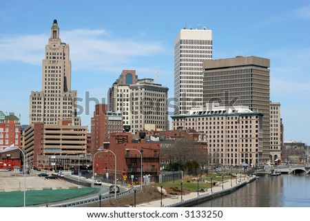 buildings in downtown Providence, RI - stock photo