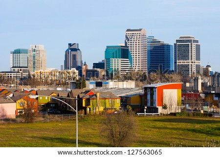 Buildings in downtown Sacramento California - stock photo