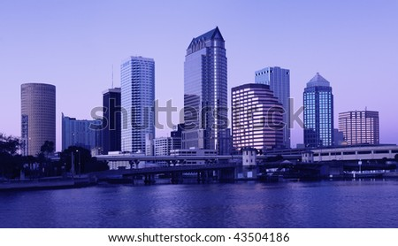 Buildings in Downtown Tampa, Florida - twiglight time. - stock photo
