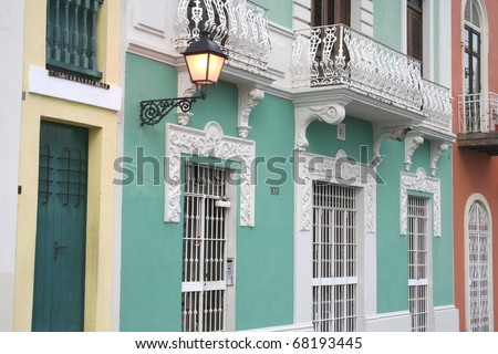 Buildings in Old San Juan Puerto Rico - stock photo