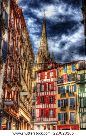 Buildings in Petit Bayonne area - France - stock photo