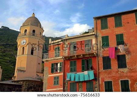 Buildings in Portofino, Mediterranean Italian coast - stock photo