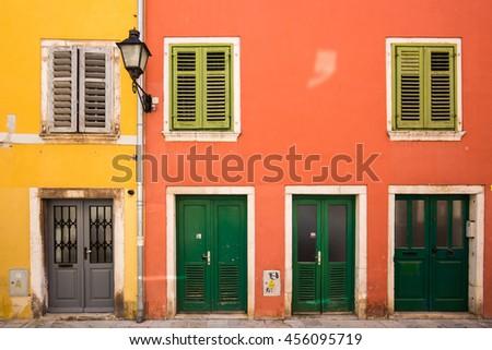 Buildings in Rovinj, Croatia - stock photo