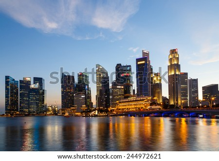 Buildings in Singapore city in night scene background , Singapore - 17 Jan 2015