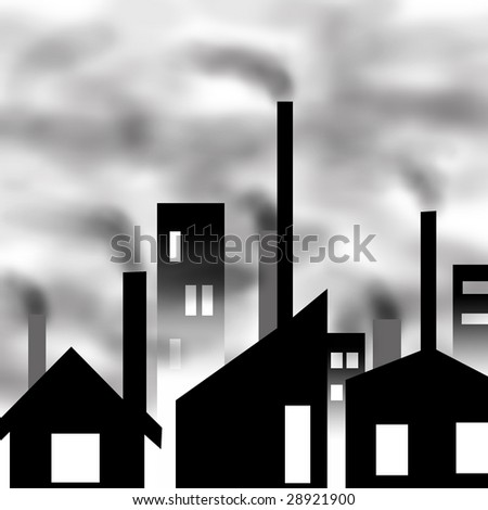 buildings in smog and smoke