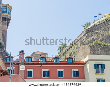 Buildings in Sorrento, Italy, seen from the sea