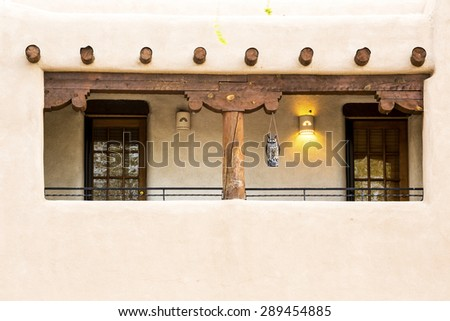 Buildings in Taos, which is the last stop before entering Taos Pueblo, New Mexico - stock photo
