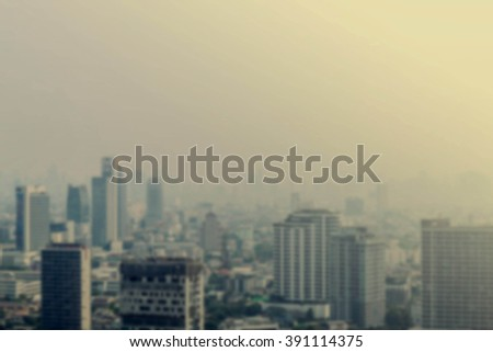 Buildings in the city and the sky hazy from a high angle.