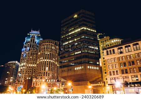 Buildings in the Financial District at night, in Boston, Massachusetts. - stock photo