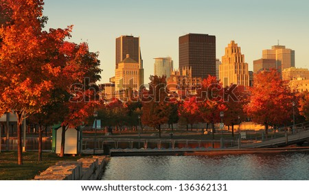 Buildings in the old port of Montreal early in the morning during fall season - stock photo