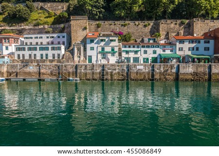 Buildings in the port of San Sebastian in Basque country - stock photo