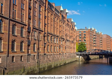 Buildings in the Speicherstadt in Hamburg, Germany - stock photo