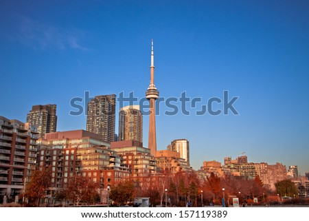Buildings in Toronto city downtown with Canada tower as background - stock photo