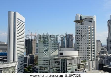 Buildings in Umeda, Osaka, Japan. - stock photo