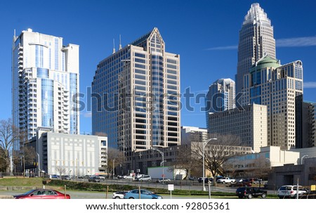Buildings in Uptown Charlotte, North Carolina. - stock photo