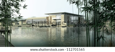 buildings made in 3d - stock photo