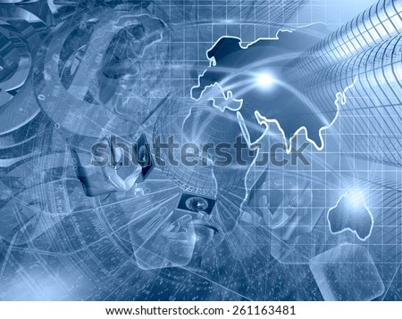 Buildings, mans and map - abstract computer background in blues. - stock photo