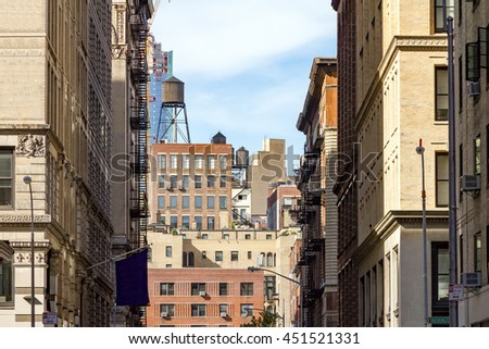 Buildings Near NYU Campus in Manhattan, New York City - stock photo