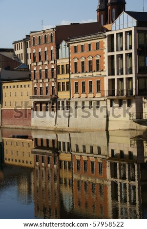 Buildings near river - stock photo
