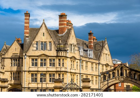 Buildings of Hertford College in Oxford - England - stock photo