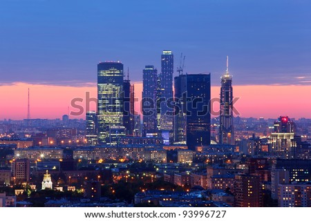 Buildings of Moscow City complex of skyscrapers at evening in Moscow, Russia - stock photo