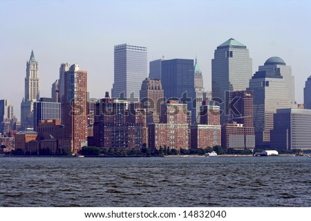 Buildings of New York City and the Hudson River.