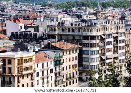 Buildings of Old Part of San Sebastian City, Spain - stock photo