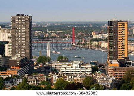 Buildings of Rotterdam and the Maas river. Aerial view from Euromast. - stock photo