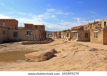 Buildings of the Acoma Pueblo native American settlement in New Mexico. - stock photo