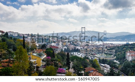 Buildings of the European side of Istanbul, Turkey - stock photo