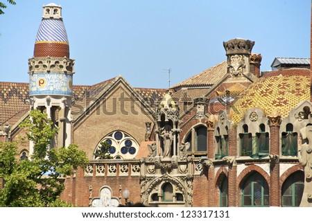 Buildings of the former Hospital of the Holy Cross and Saint Paul, Hospital de la Santa Creu i Sant Pau. The famous building, designed in the catalan modernisme, is a UNESCO World Heritage Site - stock photo