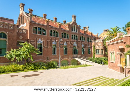 Buildings of the Hospital of the Holy Cross and Saint Paul, Hospital de la Santa Creu i Sant Pau. The famous building, designed in the catalan modernisme, is a UNESCO World Heritage Site - stock photo