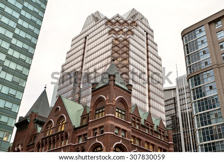 Buildings Old and New Toronto Yonge Street - stock photo