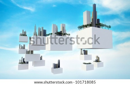 Buildings on flying box in the cloudy sky, Future sky city - stock photo