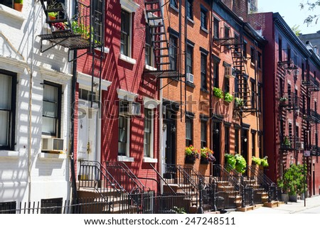 Buildings on Gay Street in Manhattan, New York City - stock photo