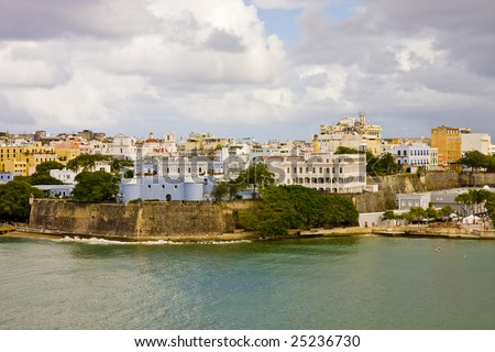 Buildings on the coast of San Juan, Puerto Rico - stock photo