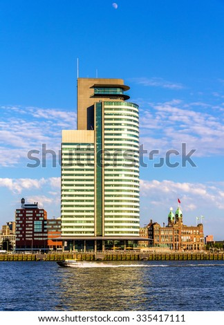 Buildings on the embankment of Rotterdam - the Netherlands - stock photo
