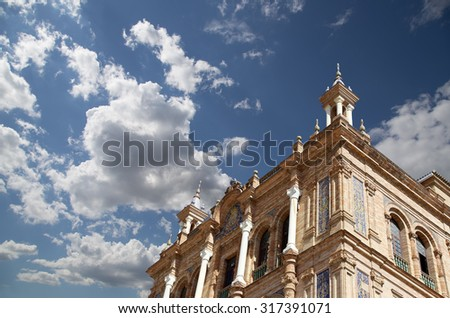 Buildings on the Famous Plaza de Espana (was the venue for the Latin American Exhibition of 1929 )  - Spanish Square in Seville, Andalusia, Spain. Old landmark - stock photo