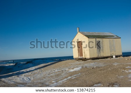 Buildings on the Tundra - stock photo