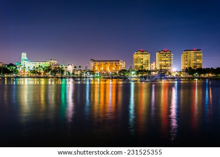 Buildings on the waterfront at night in Saint Petersburg, Florida.