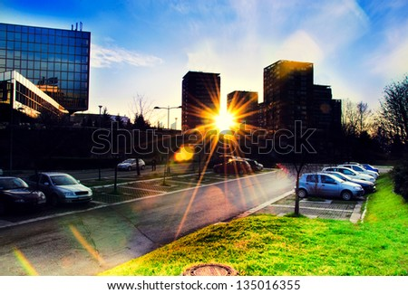 Buildings view in sunset time - stock photo