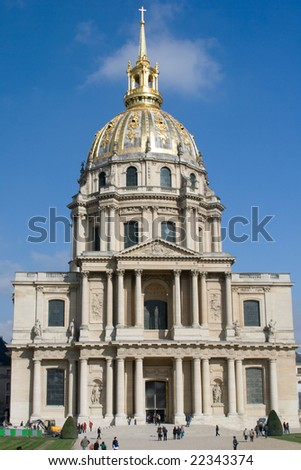 Built as a hospital and a retirement home for war veterans. Tomb of Napoleon Bonaparte - stock photo