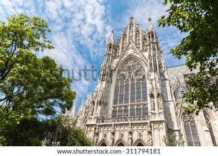 Built In 1879 The Votive Church (Votivkirche) is a neo-Gothic church located on the Ringstrasse in Vienna, Austria. - stock photo