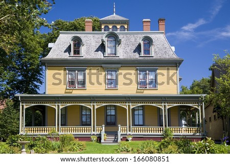 Built in 1877, this beautiful Victorian home, Beaconsfield Historic House is  in Charlottetown, Prince Edward Island, Canada. Built by shipbuilder and merchant James Peake. - stock photo