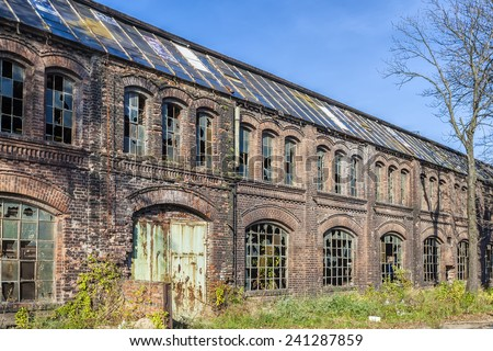 Built of red brick, historic shipyard hall - stock photo