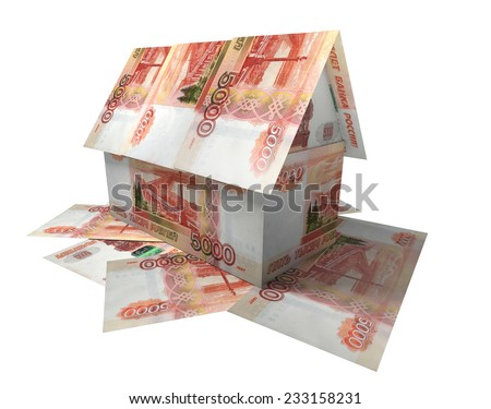 Built of Russian banknotes house  - stock photo